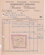 1950 - Facture TRANSPORT ROUTIERS MAXIME VILEMENT A ARGY (INDRE) GRAIN GRAINES ENGRAIS SABLE DE MINE - Transport