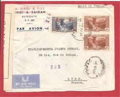 Y&T N°163+172X2 BEYROUTH  Vers FRANCE  1944  2 SCANS - Liban