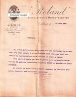 Beau Document Du 20/06/1906 ROLAND - Dolé Constructeur - Bicyclettes Motocyclettes - Albert 80 - France
