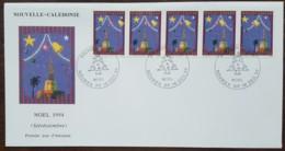 Nouvelle-Calédonie - FDC 1994 - YT N°675 à 679 - Noël / Stéréotimbres - FDC