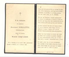 Faire-part De Décès De M. Anatole COLLETTE , Pharmacien - SERAING 1868 / FALLAIS 1918 , Avec Photo (b242 - Obituary Notices