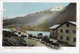 FLÜELA - HOSPIZ → Flüelapost Und Viele Andere Kutschen Vor Dem Hospiz, Ca.1900 - GR Grisons