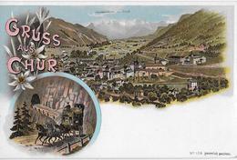CHUR → Wunderschöne Schlumpf Mehrbild-Lithokarte, Ca.1900 - GR Grisons