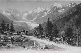 BERNINA STRASSE  → Postkutsche Mit Anderen Kutschen Vor Dem Morteratschgletscher Anno 1907 - GR Grisons