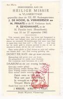 Devotie - Heilige Missie EH De Moor Vermeersch Praats Sevenhandt / Brandhoek & St.-Vedastus Vlamertinge Ieper 1960 - Images Religieuses