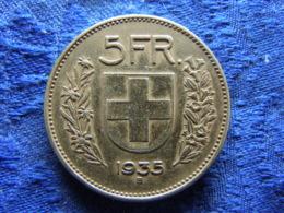 SWITZERLAND 5 FRANCS 1935, KM40 - Suisse