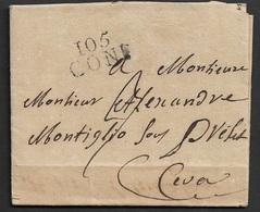1811 - LAC 105 CONI ( STURA ) Pour CEVA ( CEBA ) - A ALEXANDRE MONITGLIO SOUS PREFET - Postmark Collection (Covers)