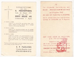 Devotie - 2x Priesterwijding EH V. Van Walleghem EH J. VandenBussche / Lichtervelde  / Liège / Bois-Seigneur-Isaac - Images Religieuses