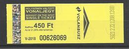 Hungary, Volanbusz, Single Ticket, Bought On The Spot, 2018. - Bus