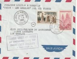 Lettre Premiere Liaison Aérienne France Premiere Liaison Avion à Réaction PARIS LOS ANGELES - Poste Aérienne