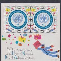 Nations Unies New-York BF N° 22 XX  Cinquantenaire De L' Adm. Postale De L' ONU, Le Bloc Sans Charnière, TB - Ungebraucht