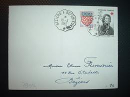 LETTRE TP CROIX-ROUGE LARREY 0,25+0,10 + AMIENS 0,05 OBL. CONVOYEUR 19-3 1965 BEZIERS A BEDARIEUX (34 HERAULT) - Poststempel (Briefe)