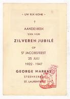 Devotie - Priesterjubileum EH George Markey / Steenkerke 1947 / Veurne - Images Religieuses