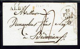 """FR - Marque Postale """"77 ALBY"""" Lettre Du 25 Février 1829 Pour Bédarrieux, Port Dû, Taxe Manuscrite 4 Décimes - TB - - Storia Postale"""