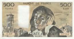 500FRCS PASCAL DE 1987.E. NUMERO 82882  / K..249 . NEUF. ET LE 56338  / Z.308. DE 1990 NEUF. - 500 F 1968-1993 ''Pascal''
