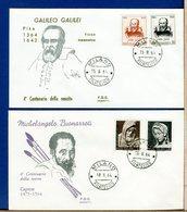 ITALIA - FDC  1964  -  MICHELANGELO - GALILEO GALILEI - 6. 1946-.. Repubblica