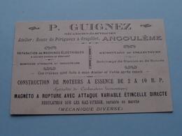 P. GUIGNEZ Mécanicien-Electricien à GRAPILLET, Angoulème ( Format 7 X 11,5 Cm. Voir Photo Svp ) ! - Cartoncini Da Visita