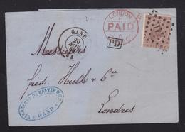 1868, Vouwbr. OBP19  V. GENT(PS141) N. LONDEN (ANGLETERRE Par OUEST 1) PD In Kader - 1865-1866 Profil Gauche