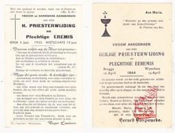 Devotie - 2x Priesterwijding EH G. VanPoucke 1944 & EH R. Lambert 1955 / Wijtschate - Images Religieuses