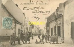 56 Pénestin, La Grand Rue, Belle Animation Avec Les Habitants, Carte Peu Courante Affranchie 1904 - Sonstige Gemeinden