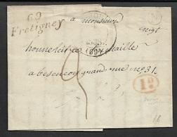1834 LAC - 69 / FRETIGNEY - HAUTE SAONE - Pour BESANÇON - Marcophilie (Lettres)