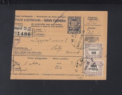 Hungary Parcel Card 1921 Budapest To Saly Tax - Ungarn