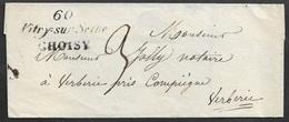 1834 LSC - 60 VITRY SUR SEINE CHOISY ( 44mm X 21mm ) - Pour VERBERIE - 1801-1848: Précurseurs XIX