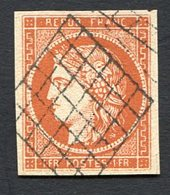 France N°7, 1F Vermillon Oblitéré, Très Beau Faux - 1849-1850 Cérès