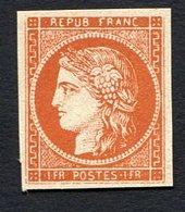 France N°7, 1F Vermillon Neuf, Très Beau Faux - 1849-1850 Ceres