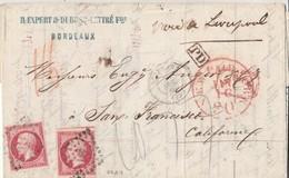 """N° 17 ( 2x, Bien Margés Dont 1 =2 Voisins  )  / L De PC  De BORDEAUX / 29.12.60 """" VIA LIVERPOOL """" -> SAN FRANCISCO / USA - 1849-1876: Klassik"""