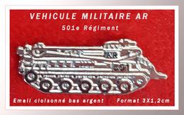 """SUPER PIN'S MILITARIA : VEHICULE MILITAIRE """"AR"""" Du 501em Régiment En émail Cloisonné Argent, Format 3X1,2cm - Army"""