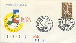 ANDORRA - FDC FIDACOS 1966 - EUROPA UNITA - CEPT - SPECIAL CANCEL - FDC