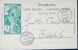"""Schweiz Suisse 1900: PK """"25 Jahre UPU"""" CP """"Jubilé UPU"""" 5c Grün Vert Mit O SÜS 22.X.00 Nach ZÜRICH (AUSSERSIHL) - Entiers Postaux"""