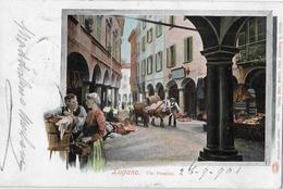 MERCATO A LUGANO → Markt In Der Via Pessina, Schöne Lithokarte Anno 1901 - TI Tessin