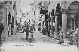 MERCATO A LUGANO → Markt In Der Via Nassa Mit Kutsche, Ca.1900 - TI Tessin