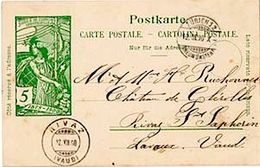 "Schweiz Suisse 1900: PK ""25 Jahre UPU"" CP ""Jubilé UPU"" 5c Grün Vert O ZÜRICH 12.XII.00 Pour RIVAZ (VAUD) - Vins & Alcools"