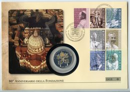 COOK ISLANDS 5 $ 2010 ARGENTO PROOF 999 SILVER+GOLD+SWAROVSKI 80 YEARS VATICAN CITY STATE POST CARD PESO 25g. TITOLO 0,9 - Isole Cook