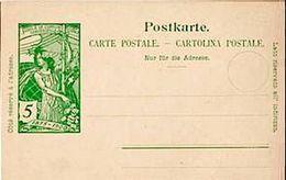 "Schweiz Suisse 1900: PK ""25 Jahre UPU"" CP ""Jubilé UPU"" 5c Grün Vert  Ungebraucht / Non Circulé - Timbres Sur Timbres"