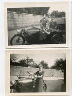 Femme Homme Garçon Car  Voiture Originale Moto Side Car TROIS Roue RARE  à Identifier Situer Lot 2 Photos 30s - Automobili
