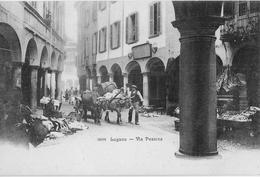 MERCATO A LUGANO → Markt In Der Via Pessina,  Bauer Mit Ochsengespann, Ca.1900 - TI Tessin