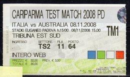 "Padova 08.11.2008 - Stadio Euganeo "" Io C'ero "" - Partita Di Rugby ITALIA - AUSTRALIA - - Biglietti D'ingresso"