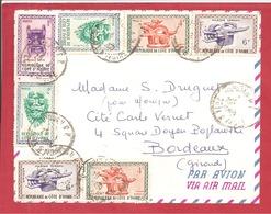 Y&T N°186+184++++ ABIDJAN    Vers  FRANCE 1960 - Côte D'Ivoire (1960-...)