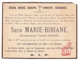 DB EZ Virginie Samain - Zr. Marie Bibiane ° 1805 † Klooster Pensionaat OLV Ter Engelen Kortrijk 1888 - Images Religieuses