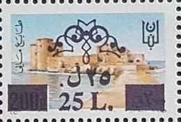NO11 - Lebanon 25L Overprint On 1989 200p Fiscal Revenue Stamp Citadel Of Saida - MNH - Lebanon