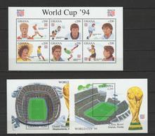 Ghana 1994 Football Soccer World Cup Sheetlet + 2 S/s MNH - World Cup