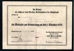 """Urkunde Zur Verleihung Der """"Medaille Zur Erinnerung An Den 1. Oktober 1938"""" - Documents"""