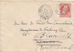 753/27 -  Lettre TP 74 Grosse Barbe BRUXELLES 1909 Vers LOUVAIN , Réexpédiée Vers WILLEBROEK - 2 Cachets Diff. LOUVAIN - 1905 Grosse Barbe