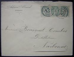 Cognac 1905 Adrien Abrard Lettre Oblitérée Avec Une Bande De 3 N°111 - Marcofilia (sobres)