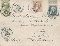 754/27 -  Lettre TP Grosse Barbe Tricolore - LIEGE Valeurs 1905 Vers ROTTERDAM Nederland - TARIF 80 C - 1905 Grosse Barbe