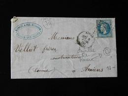 LETTRE DE DEVILLE LES ROUEN POUR AMIENS  -  1870  - - Storia Postale